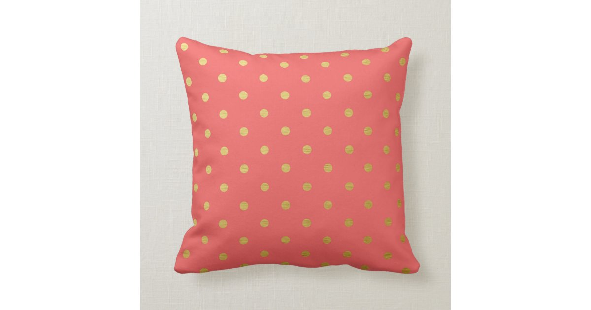Modern Pink Pillow : Gold Foil Polka Dots Modern Coral Pink Pillow Zazzle