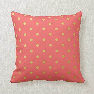 Gold Foil Polka Dots Modern Coral Pink Throw Pillow