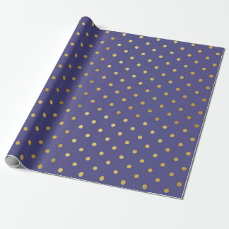 Gold Foil Polka Dots Modern Dark Purple Metallic Wrapping Paper