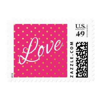 Gold Foil Polka Dots Modern Hot Pink Love Stamp