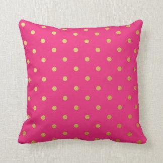 Gold Foil Polka Dots Modern Hot Pink Metallic Throw Pillow