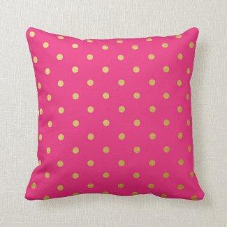 Gold Foil Polka Dots Modern Hot Pink Metallic Throw Pillows