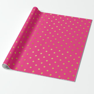 Gold Foil Polka Dots Modern Hot Pink Metallic Wrapping Paper