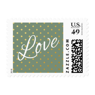 Gold Foil Polka Dots Modern Moss Green Love Postage