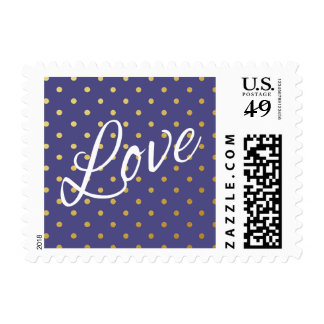 Gold Foil Polka Dots Modern Purple Love Postage