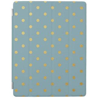 Gold Foil Polka Dots Modern Slate Blue Metallic iPad Smart Cover