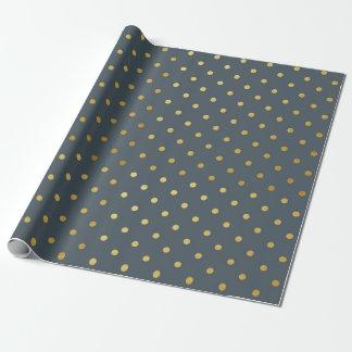 Gold Foil Polka Dots Modern Slate Gray Metallic Wrapping Paper
