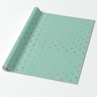 Gold Foil Polka Dots Modern Teal Mint Metallic Wrapping Paper
