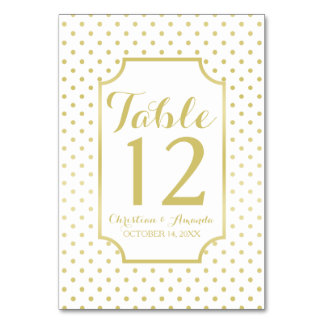 Gold Foil Polka-Dots Modern Wedding Table Number