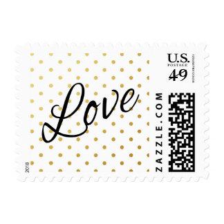 Gold Foil Polka Dots Modern White Black Love Postage