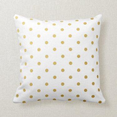 Gold Foil Polka Dots Modern White Metallic Throw Pillow