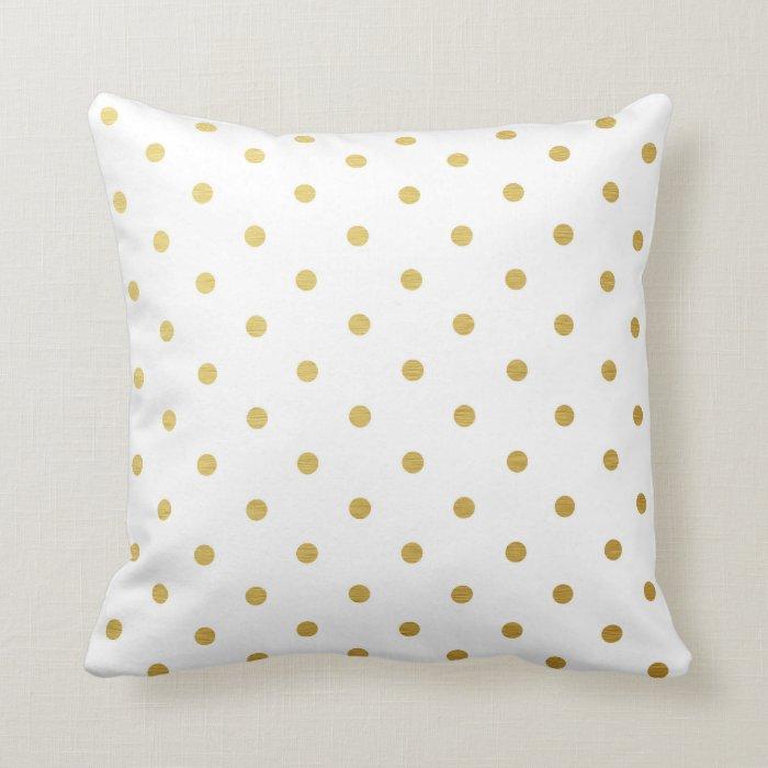 Gold Foil Polka Dots Modern White Metallic Throw Pillow Zazzle