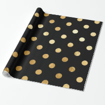 Gold Foil Polka Dots Pattern Wrapping Paper Black