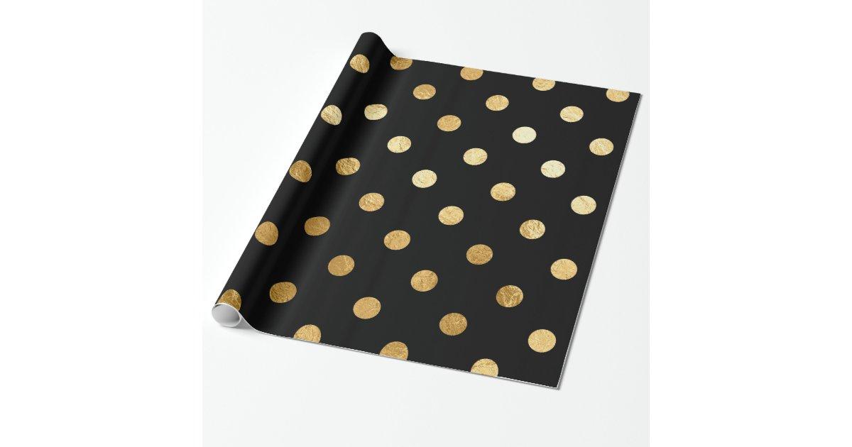 Gold Foil Polka Dots Pattern Wrapping Paper Black Zazzle Com