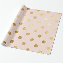 Gold Foil Polka Dots Pattern Wrapping Paper Blush
