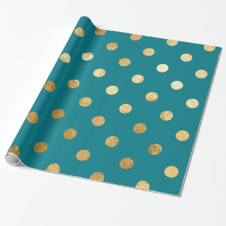 Gold Foil Polka Dots Pattern Wrapping Paper Teal