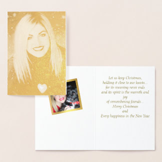 Gold Foil Portrait Photo Christmas Card