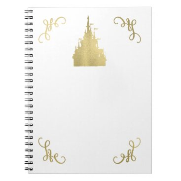Wedding Themed Gold Foil Princess Flag Castle Storybook Elegant Notebook