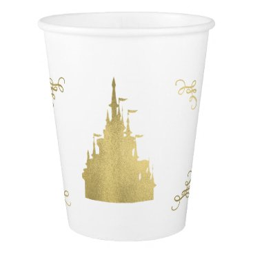 Wedding Themed Gold Foil Princess Flag Castle Storybook Party Paper Cup