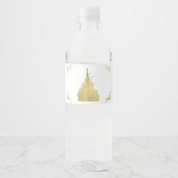 Wedding Themed Gold  Foil Princess Flag Castle Storybook Party Water Bottle Label