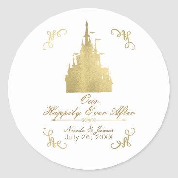 Wedding Themed Gold Foil Princess Flag Castle Storybook Wedding Classic Round Sticker