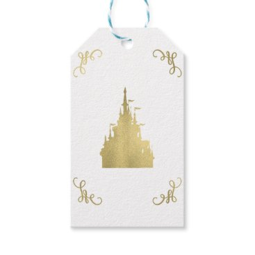 Wedding Themed Gold Foil Princess Flag Castle Storybook Wedding Gift Tags