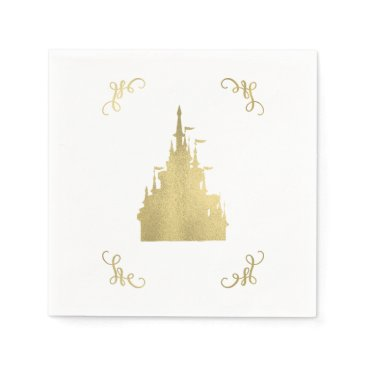 Wedding Themed Gold Foil Princess Flag Castle Storybook Wedding Napkin