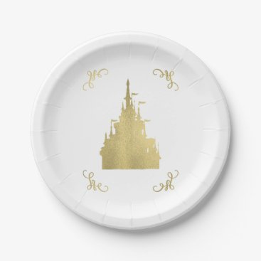 Wedding Themed Gold Foil Princess Flag Castle Storybook Wedding Paper Plate