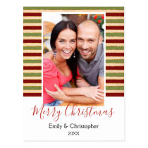 Gold Foil, Red and Green Christmas Photo Card
