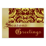 Gold Foil Red Damask Christmas Holiday Card