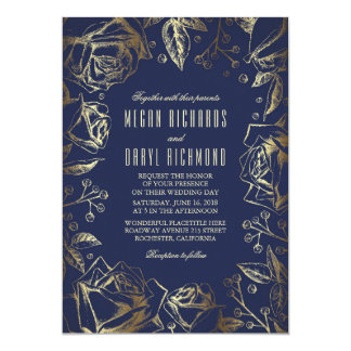 Gold Foil Roses and Baby's Breath Navy Wedding 5x7 Paper Invitation Card