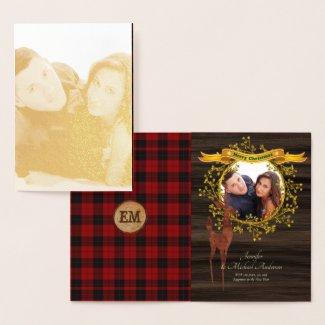 GOLD FOIL Rustic Buffalo Plaid Stag PHOTO Xmas Foil Card