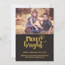 Gold Foil Rustic Christmas Typography Holiday Card
