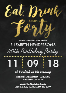 40th birthday invitations zazzle gold foil rustic forty birthday party 40th invitation filmwisefo