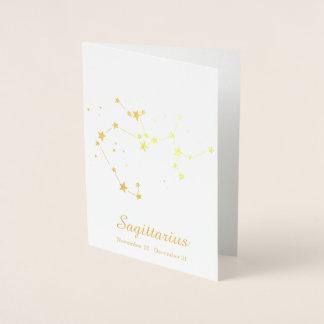 Gold Foil SAGITTARIUS Zodiac Sign Constellation Foil Card