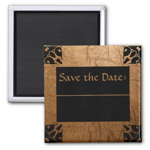 Gold Foil Save the Date Fridge Magnet