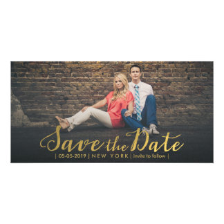 Gold Foil Save the Date Overlay Photo Cards