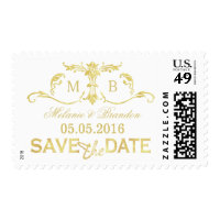Gold foil Save the Date postage stamps monogram