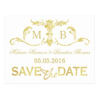 Gold foil Save the Date postcards gold wedding set