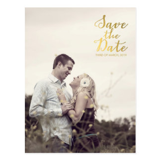 Gold Foil Save the Date Typography Announcement Postcard