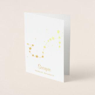 Gold Foil SCORPIO Zodiac Sign Constellation Foil Card