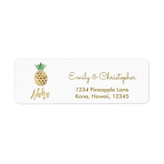 Gold Foil Script Wedding Aloha Pineapple Label