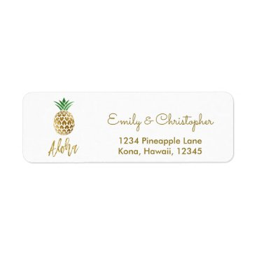 Hawaiian Themed Gold Foil Script Wedding Aloha Pineapple Label