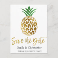 Gold Foil Script Wedding Save the Date Pineapple Announcement Postcard