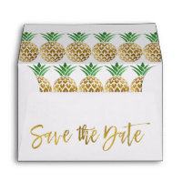 Gold Foil Script Wedding Save the Date Pineapple Envelope