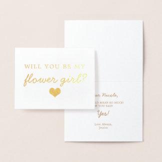 Gold Foil Script Will You Be Flower Girl Card