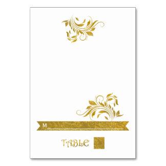 Gold foil scroll leaf floral wedding place card