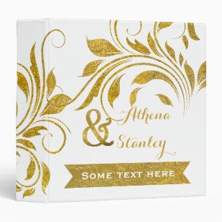 Gold foil scroll leaf floral wedding planner binder