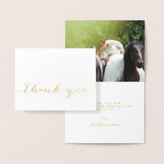 Gold Foil Simple Script Wedding Thank You Photo Foil Card
