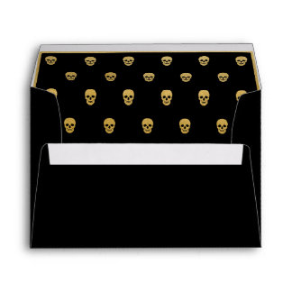 Gold Foil Skull.  All Black Envelope